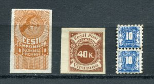 x68 - ESTONIA 1920s-30s Lot of (3) Types of REVENUE Stamps. Fiscal