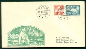 GREENLAND 20+40ore 1st issued tied UPERNAVIK (Wow. 112.01) on  Polar Bear cachet