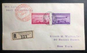 1936 Lichtenstein Hindenburg Zeppelin cover to New York USA # C15 C16 LZ129