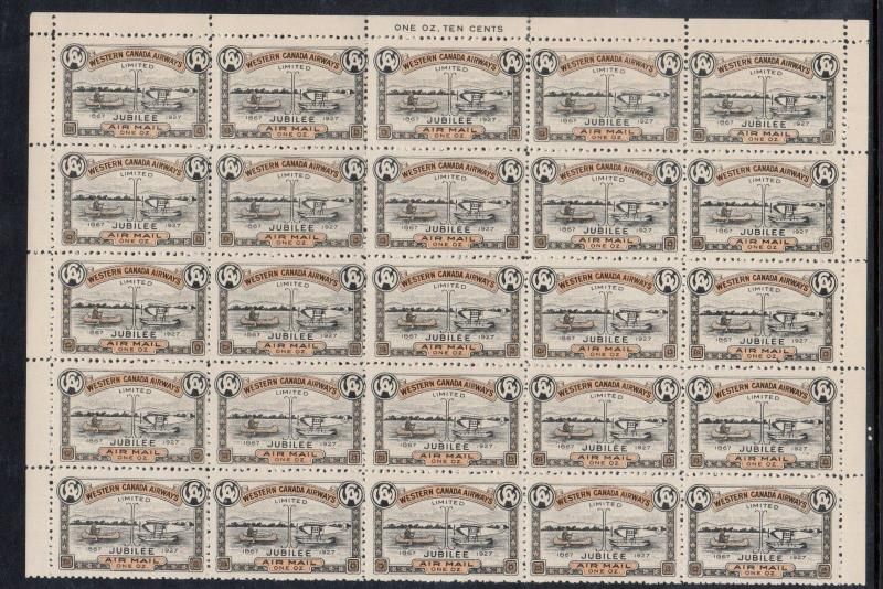 Canada #CL41 Extra Fine Never Hinged Plate Sheet Of Twenty Five