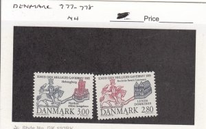 J26080  jlstamps 1985 denmark set mnh #777-8 designs , all checked