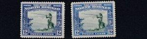 NORTH BORNEO  1939  S G 310 + 310A  2 X 12C VALUES    MH  CAT £120