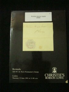 CHRISTIES ROBSON LOWE CATALOGUE 1991 BERMUDA 1854 W B PEROT POSTMASTERS STAMP