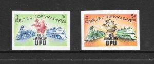 UPU - MALDIVES #496 & 501 IMPERFS  MNH