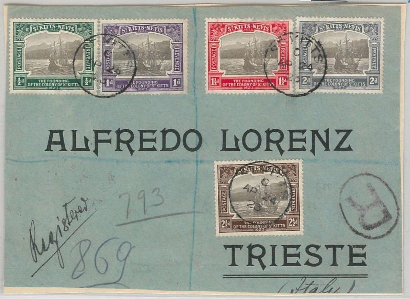 52367 St Kitts & Nevis -  POSTAL HISTORY: REGISTERED COVER FRONT to TRIESTE 1923