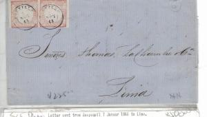 Peru 1D x 2 on 1863 cover Truxillo Cancels, Lima B/S (7bep)
