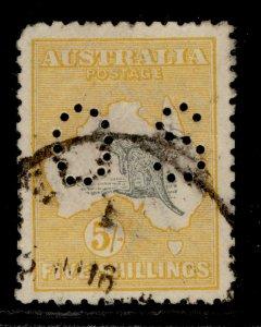 AUSTRALIA GV SG O37, 5s grey and yellow, USED. Cat £225.