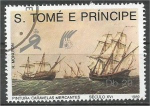ST. THOMAS AND PRINCE, 1989, used 20d, Merchant ships Scott 891
