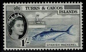 TURKS & CAICOS ISLANDS QEII SG246, 1s deep blue & black, NH MINT.