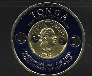 TONGA,144, MNH, QUEEN SALOTE COIN, SURCHARGED