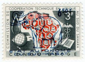 (I.B) Belgian Congo Postal : Sud Kasai 6.50Fr on 3Fr OP