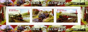 STEAM RAILWAYS strip (3v) Perforated Mint (NH)