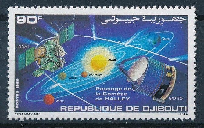 [64195] Djibouti 1986 Space Travel Weltraum Planets Halley Comet From Set MNH