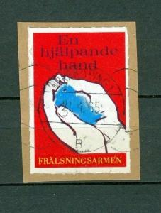Sweden.Poster Stamp On Paper.Red.Salvation Army. Bird in Hand. A Helping Hand