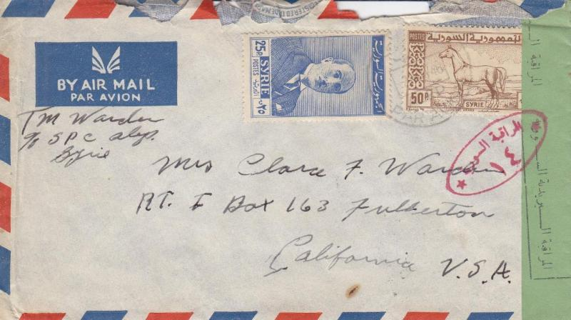 1948, Syria to Fullerton, CA, Airmail, Censored, See Remark (C1903)