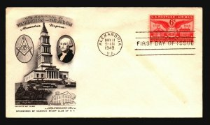 US SC# C40 FDC / Alexandria Masonic Cachet - Z18380