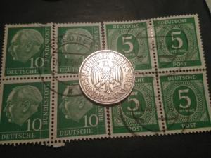 1950-D West German Germany Allied Occ 1 mark coin 1947-1956 stamp block lot set