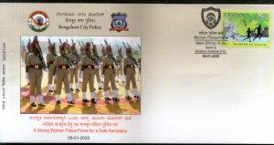India 2020 Bangaluru City Women Police Force Coat of Arms Special Cover # 18620