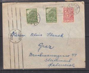 DENMARK, 1947 cover, Liberation Fund, Aarhus to Graz, Austria.