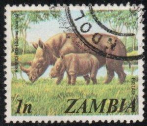 Zambia 135 - Used - 1n Rhinoceros (1975) +