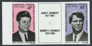 Thematic Kennedy: Cameroun 1968 40f, 60f sg514-5 um imperf triptych with label
