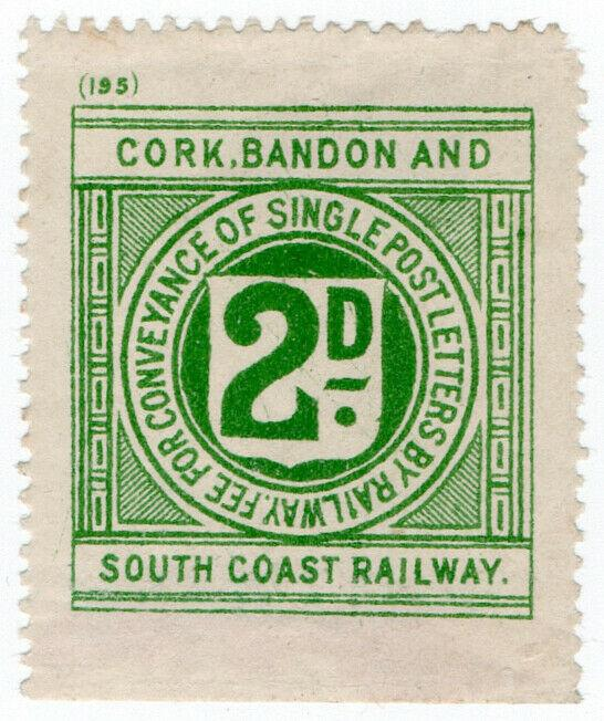 (I.B) Cork Bandon & South Coast Railway : Letter Stamp 2d (plate 195)