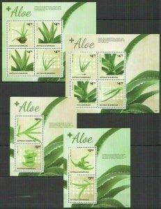 QB500 2014 ANTIGUA & BARBUDA FLORA PLANTS MEDICAL FLOWERS ALOE 2BL+2KB FIX