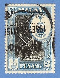 Malaya Penang 63 Used H Pencil Mark-Aborigines, Crest & Palm