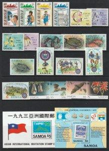 Samoa x small MNH lot of moderns + 2 mini sheets all MNH
