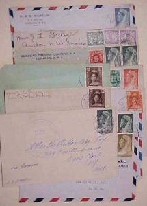 CURACAO 10 SMALL COVERS  MOSTLY TO USA 1930's