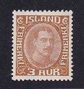 Iceland    #109  MH   1920  Christian X   3a