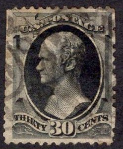 US Stamp #190 30c Full Black Hamilton USED SCV $90