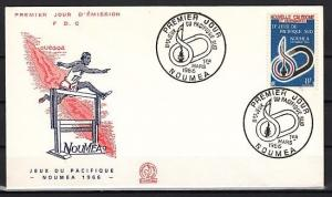 New Caledonia, Scott cat. 344. 2nd. So. Pacific Games issue. First day cover.