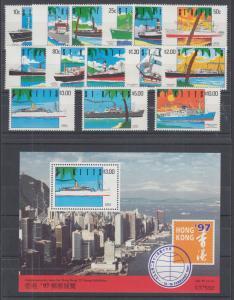 St. Kitts Sc 294-307, 305a MNH. 1990 Ships, cplt incl Souvenir Sheet, VF