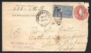 Doyle's_Stamps: California Postal History XF-S #E10 on Cover, Scott CV $200.oo