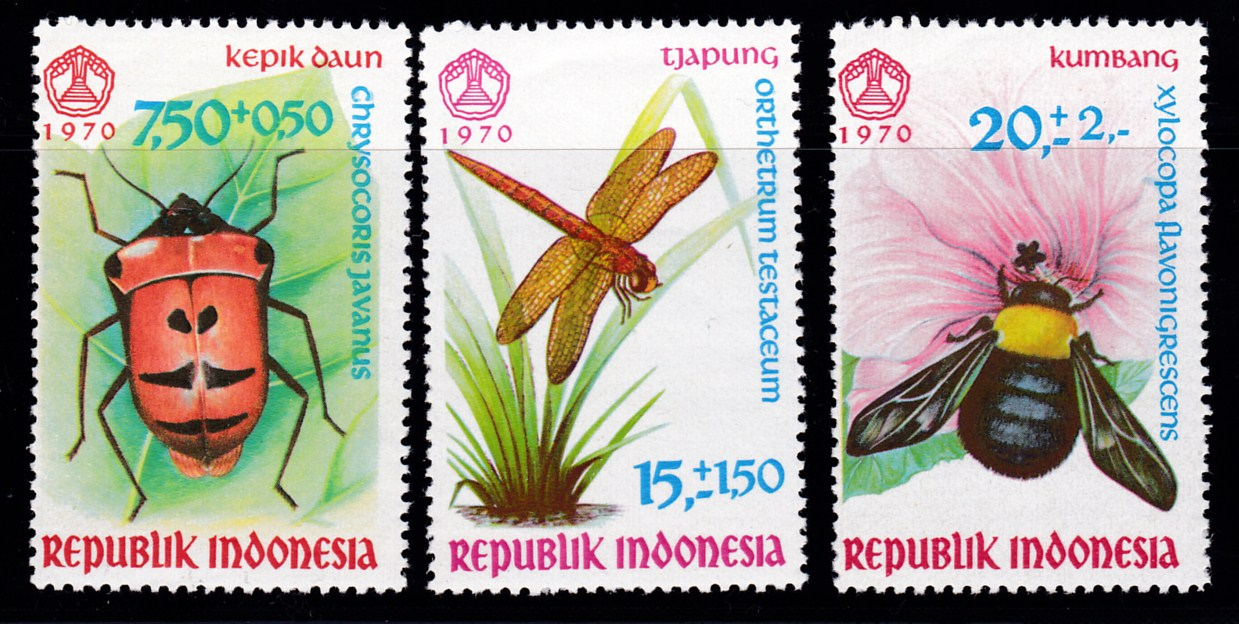 Indonesia 1970 Semi-Postal 13th Social Day Complete (3) Insects VF