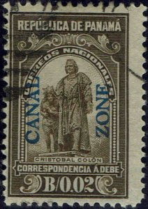 CANAL ZONE #J5 1915 CANAL ZONE OVERPRINT ON 2c PANAMA POSTAGE DUE ISSUE--USED