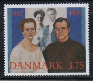 Denmark  Scott 964 1992 Royal Wedding Anniversary stamp mint NH