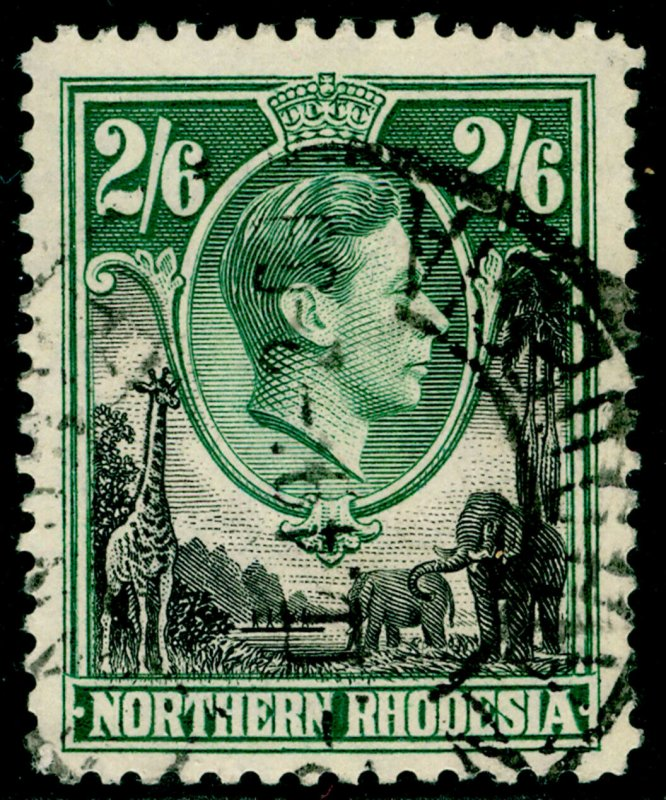 NORTHERN RHODESIA SG41, 2s 6d black & green, FINE USED.