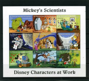 ST.VINCENT 1996 DISNEY MICKEY,S SCIENTISTS SHEET OF 9 STAMPS MNH