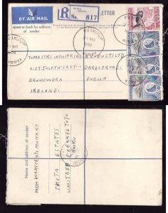 Kenya registered letter to Ireland - Ruiru , Kenya - 27 Mr 1958- registration la