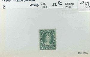 s986 stamp New Brunswick mint no gum Scott 8  SCV 22.50