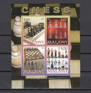 Malawi, 2008 Cinderella issue. Chess sheet of 4.