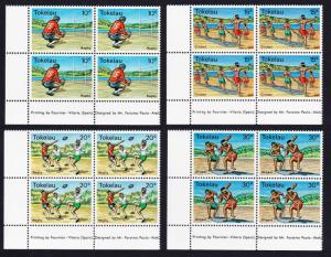 Tokelau Local Sports 4v Left Bottom Corner Blocks of 4 SG#69-72 SC#69-72