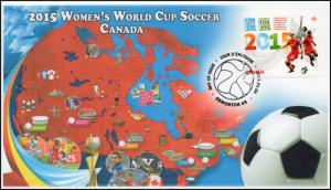 CA15-007, 2015, Women's World Cup, Soccer, Pictorial, Event Cover, Edmonton NS