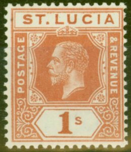 St Lucia 1920 1s Orange-Brown SG86 Fine Lightly Mtd Mint