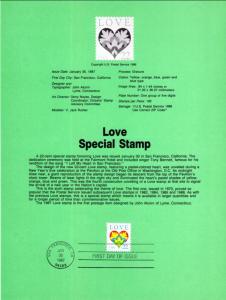 US SP762 Love 2248 Souvenir Page FDC