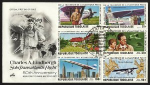 wc028 Togo Charles Lindbergh 50th Anniversary 1977 FDC first day cover