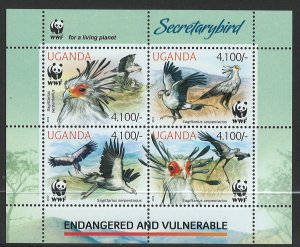 Uganda Scott 2021e MNH! SecretaryBird! Sheet of 4!
