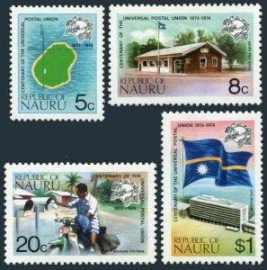 Nauru 114-117,117a sheet,MNH. UPU-100,1974.Map,P.O.Mailman on motorcycle,Flag.